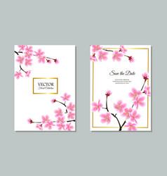 save date - floral sakura tree wedding vector image