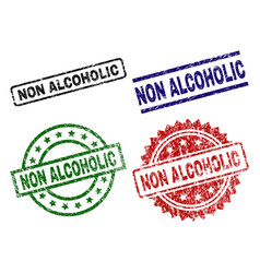 Scratched textured non alcoholic stamp seals vector