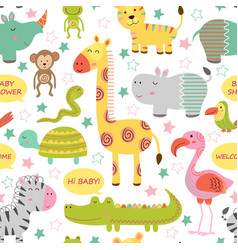 Seamless pattern with baby jungle animals vector