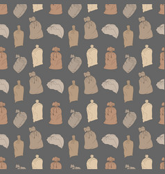seamless pattern with bags on gray background vector image