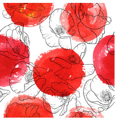 seamless pattern with drawing poppy flowers vector image