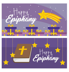 set happy epiphany with presents and bibble with vector image