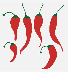set of hot chilli pepper isolated on white vector image