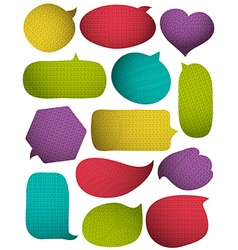 Set of special colour bright bubbles with knitwear vector image