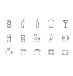 set simple drink icon in trendy line style vector image