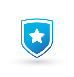 Shield logo with star in the center isolated on vector