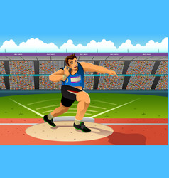 Shot putter in a shot put competition vector