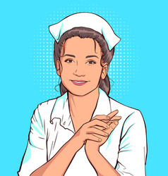 shy nurse woman in white coat vector image