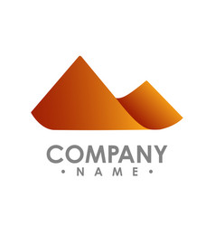 simple mountain shape color shade design vector image