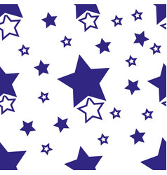 simple pattern wth blue stars on white background vector image
