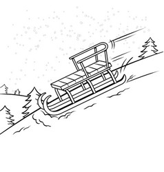 sledge slide down hill coloring book vector image