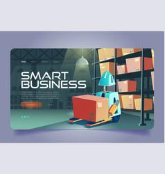 smart business cartoon landing with forklift robot vector image