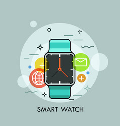 smart watch surrounded by application icons vector image