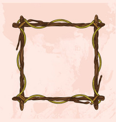 Square vintage frame made of branches decorative vector