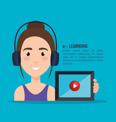 Student using tablet electronic education vector