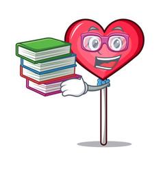 Student with book heart lollipop mascot cartoon vector