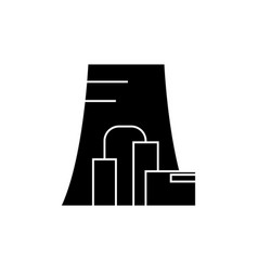 thermal power plant black icon concept thermal vector image