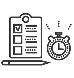 time management line icon sign vector image