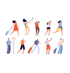 tourist people traveler characters adult vector image