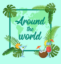 tropical poster with outline palm leaves seasonal vector image