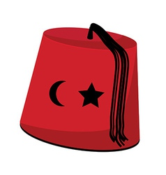 Turkish hat with star and crescent vector image