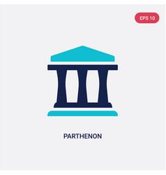 Two color parthenon icon from greece concept vector