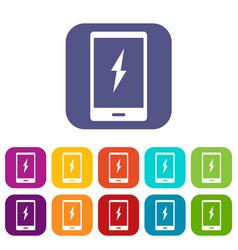 Warning phone icons set flat vector
