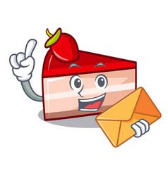 with envelope strawberry cake character cartoon vector image