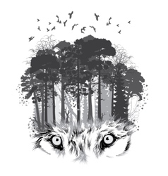 Wolf silhouette on forest background vector
