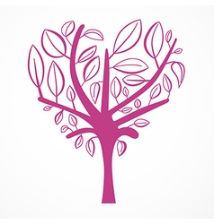 Abstract Heart Shaped Tree on White Background vector image
