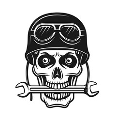 biker skull in helmet and wrench in mouth vector image