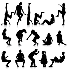 Black silhouettes of men and women in a pose vector image
