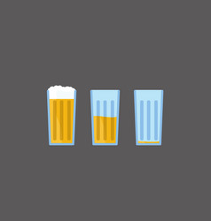 cartoon beer from full to empty glass vector image vector image