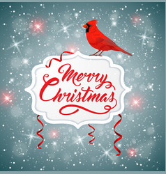 christmas banner with red cardinal vector image