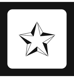 Five pointed convex star icon simple style vector image