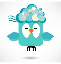fly of bird to hand creative idea vector image vector image