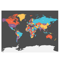 political map of world with antarctica countries vector image