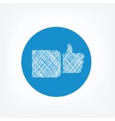 Doodle like icon on blue background vector image