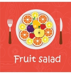 Fruits background in flat style Colorful template vector image