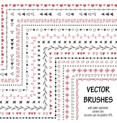 Hand drawn decorative brushes with inner vector image