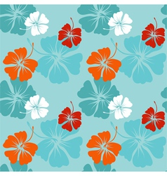 hibiscus pattern in blue vector image