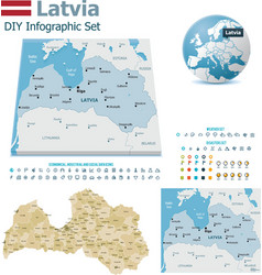 Latvia maps with markers vector image