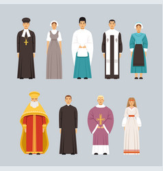 Religion people characters set men and women of vector