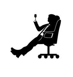 silhouette man businessman sitting in a modern vector image