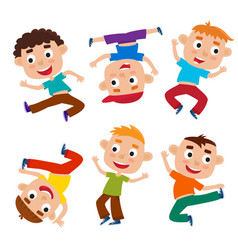 cartoon set of little boys isolated on vector image