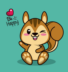 color background with cute kawaii animal chipmunk vector image vector image