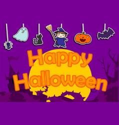 cute happy halloween background vector image vector image