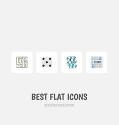 flat icon play set of backgammon multiplayer vector image