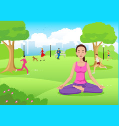 girl meditating at city park vector image vector image