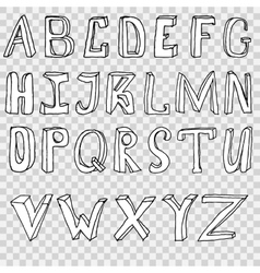 Hand drawing alphabet set in vector image vector image